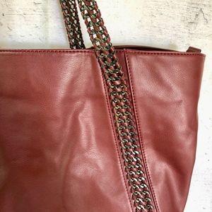 Burgundy Steve Madden Vegan Leather Tote Bag